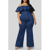 Lovely Stylish Off The Shoulder Ruffle Deep Blue P