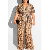 Lovely Casual Snakeskin Pattern Printed Plus Size