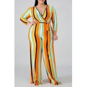 Lovely Stylish V Neck Striped Yellow Plus Size One