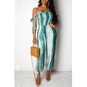Lovely Casual Dew Shoulder Green One-piece Jumpsui