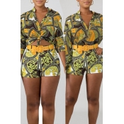 Lovely Casual Printed Golden Yellow Two-piece Shor