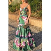 Lovely Party Floral Printed Green Floor Length Pro