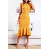 Lovely Stylish O Neck Ruffle Design Yellow Mid Cal