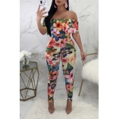 Lovely Stylish Off The Shoulder Floral Printed Pin