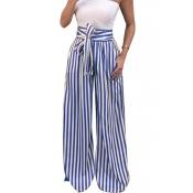 Lovely Stylish High Waist Striped Blue Pants