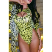 Lovely Leopard Printed Hollow-out Green One-piece