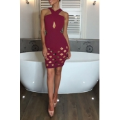 Lovely Sexy Halter Neck Hollow-out Wine Red Mini P