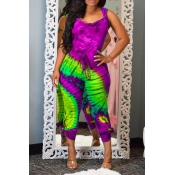 Lovely Casual Hooded Collar Printed Backless Purple One-piece Jumpsuit