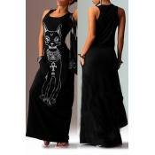 Lovely Casual U Neck Printed Black Floor Length T-shirt Dress