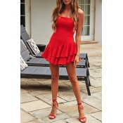 Lovely Casual Off The Shoulder Ruffle Design Red M