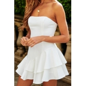 Lovely Casual Off The Shoulder Ruffle Design White