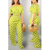 Lovely Sweet Off The Shoulder Dot Printed Green Two-piece Pants Set
