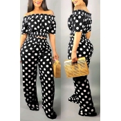 Lovely Sweet Off The Shoulder Dot Printed Black Two-piece Pants Set