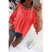 Lovely Casual O Neck Off The Shoulder Watermelon R