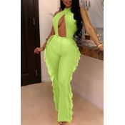 Lovely Sexy Hollow-out Backless Green One-piece Ju
