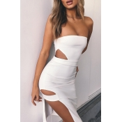 Lovely Sexy Off The Shoulder Hollow-out White Mini