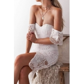 Lovely Sexy Off The Shoulder Lace Trim Patchwork W