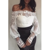 Lovely Stylish Lace Trim Patchwork White Blouse