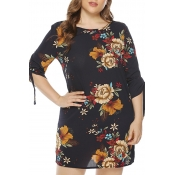 Lovely Bohemian O Neck Floral Printed Black Mini P
