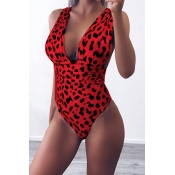Lovely V Neck Leopard Printed Red One-piece Swimwe