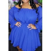 Lovely Stylish Off The Shoulder Ruffle Blue Mini A