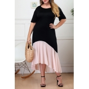 Lovely Casual O Neck Patchwork Asymmetrical Black