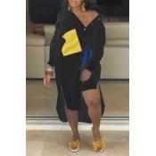 Lovely Stylish Turndown Collar Patchwork Asymmetrical Black Mid Calf Dress