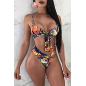 Lovely Spaghetti Straps Printed Multicolor One-pie