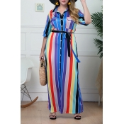 Lovely Casual Striped Multicolor Floor Length Plus