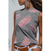 Lovely Casual Printed Grey Tank Top
