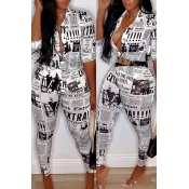 Lovely Casual V Neck Letter Printed White Two-piec