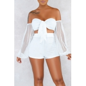 Lovely Sexy Off The Shoulder White Two-piece Short