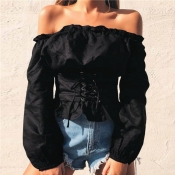 Lovely Stylish Off The Shoulder Lace-up Black Blou