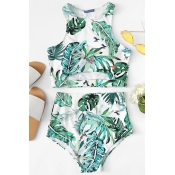 Lovely O Neck Printed Green Two-piece Swimwear