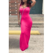 Lovely Casual U Neck Rose Red Floor Length Dress