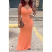 Lovely Casual U Neck Jacinth Floor Length Dress