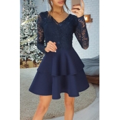 Lovely Stylish V Neck Lace Trim Patchwork Dark Blu