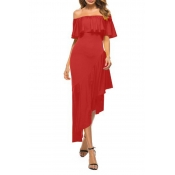 Lovely Casual Off The Shoulder Asymmetrical Red Mi
