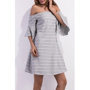 Lovely Casual Off The Shoulder Striped Grey Mini D