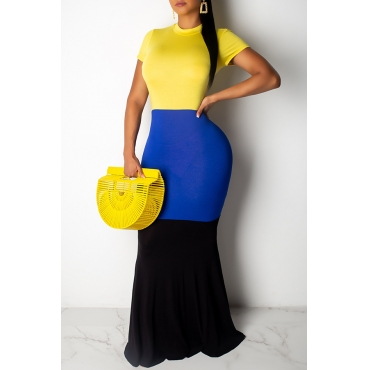 Lovely Casual O Neck Patchwork Yellow Floor Length Dress