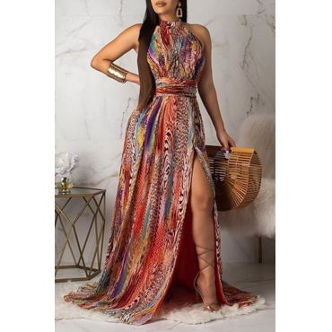 Lovely Sexy Halter Neck Printed Backless Multicolor Floor Length Dress