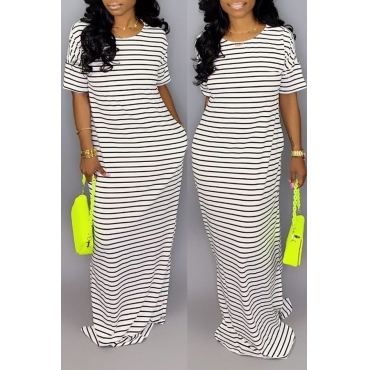 Lovely Casual O Neck Striped White Floor Length Dress