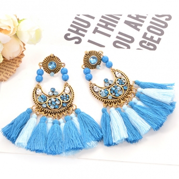 Lovely Fashion Tassel Design Blue Alloy Earring
