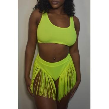 Lovely Tassel Design Green Two-piece Swimwear