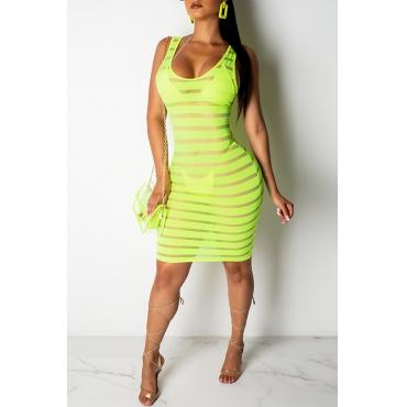 Lovely Casual U Neck Striped Printed Green Mini Dress