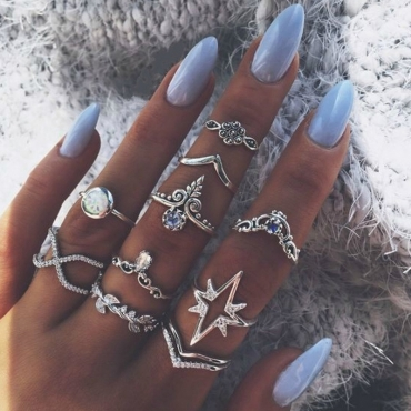 Lovely Vintage Rhinestone Decoration Hollow-out Silver Alloy Ring
