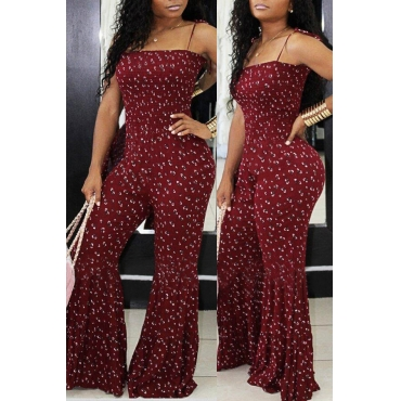 Lovely Stylish Spaghetti Straps Printed Wine Red One-piece Jumpsuit