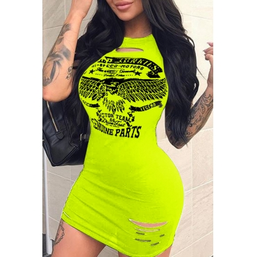 Lovely Casual Printed Hollow-out Light Green Mini Dress