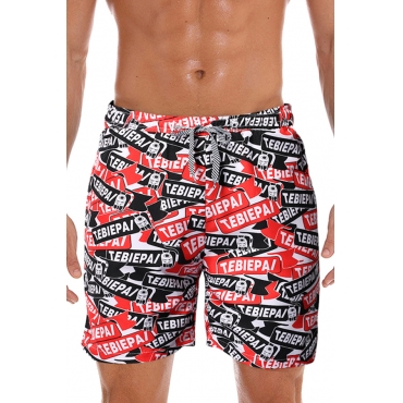Lovely Bohemian Letter Printed Red Shorts