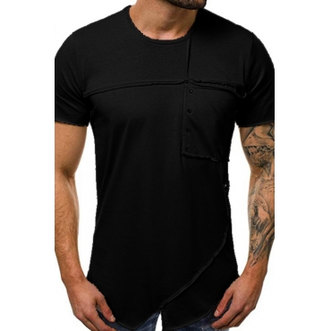 Lovely Casual O Neck Patchwork Black T-shirt